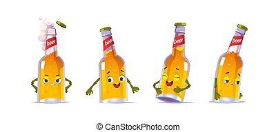 Beer bottle character, kawai funny glass flask with yellow liquid alcohol drink and cute face express happy and sad emotions. design elements isolated on white background. Cartoon vector icons set