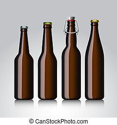 Beer bottle clear set with no label, vector Eps 10 illustration.