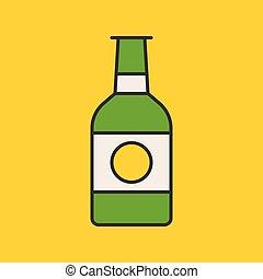 Beer bottle, filled outline icon