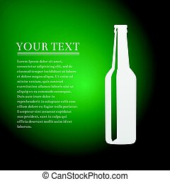 Beer bottle flat icon on green background. Vector Illustration