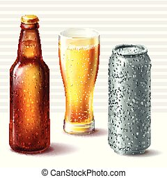 Beer bottle, glass and aluminum can.