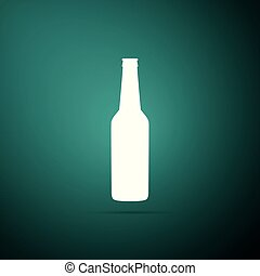 Beer bottle icon isolated on green background. Flat design. Vector Illustration
