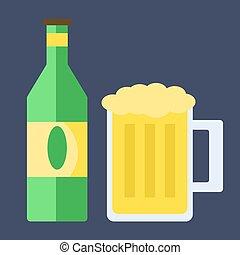 Beer bottle, illustration, vector on white background.