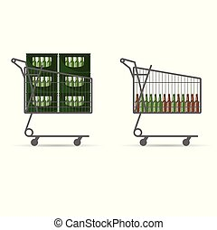 beer bottle in shopping basket illustration