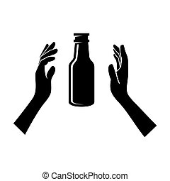 Beer Bottle in the Hands Isolated on White. Vector