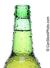beer bottle isolated on white, wet green bottle closeup