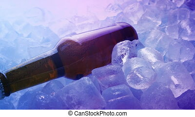 Beer Bottle On Ice In Nightclub