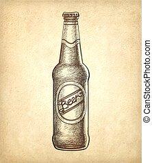 Beer bottle on old paper background.