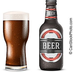 Realistic dark brown vector beer bottle with label and glass