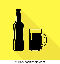 Beer bottle sign. Black icon with flat style shadow path on yellow background.