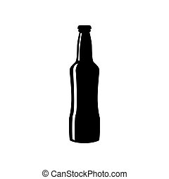 Beer bottle sign. Flat style black icon on white.