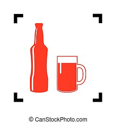 Beer bottle sign. Vector. Red icon inside black focus...
