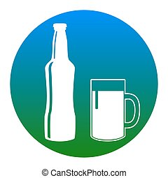 Beer bottle sign. Vector. White icon in bluish circle on white background. Isolated.