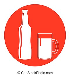 Beer bottle sign. Vector. White icon in red circle on white background. Isolated.
