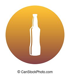 Beer bottle sign. White icon in circle with golden gradient as b