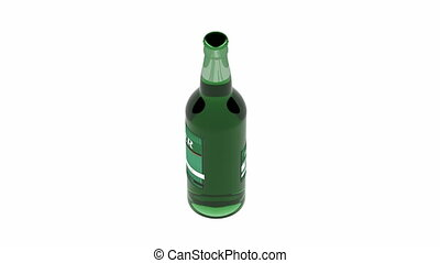 Beer bottle spin on white background