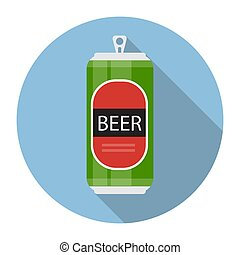 Beer Bottle Template in Modern Flat Style Icon on White. Material for Design. Vector Illustration