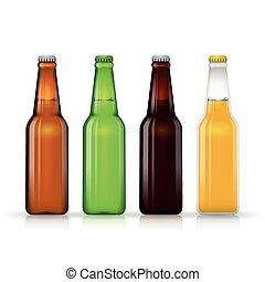 Beer bottle vector set. Dark and lager