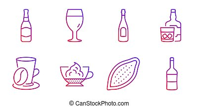 Beer bottle, Whiskey glass and Champagne icons set. Coffee...