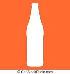 Beer bottle white color icon .