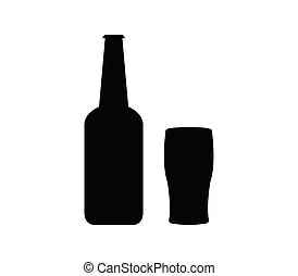 beer bottle with glass