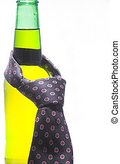 Beer Bottle with Necktie - A necktie draped around an ice...