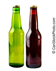 Beer Bottles - A close up on a beer bottles isolated on a ...