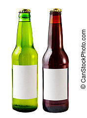 Beer Bottles - A close up on beer bottles isolated on a ...