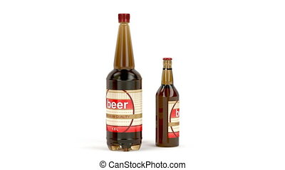 Beer bottles and can - Different types of beer containers on...