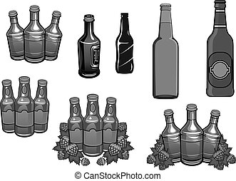 Beer bottles and hops brewery vector icons set