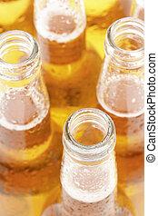 beer bottles closeup