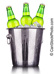 Beer bottles in ice bucket isolated on white