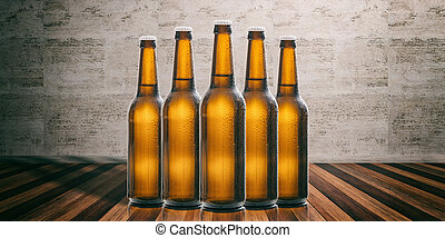Beer bottles on a wooden floor, stone wall background. 3d illustration