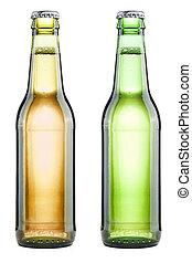 beer bottles on white background