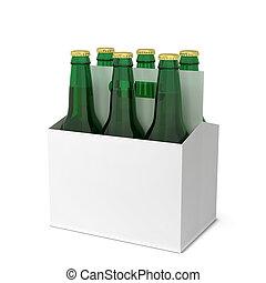 Beer bottles six pack. 3d illustration isolated on white...
