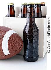 Beer Bottles with American Football