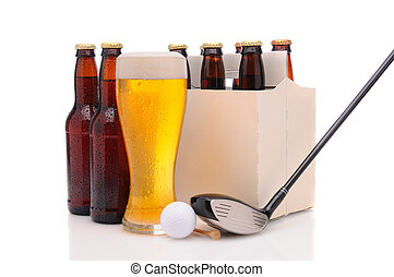 Beer Bottles with Golf Club and Ball - Six pack of beer and...
