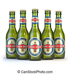 """Beer bottles with label """"cold beer"""" isolated on white. 3d..."""