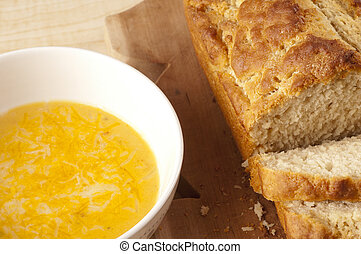 Beer Bread and Cheese Soup