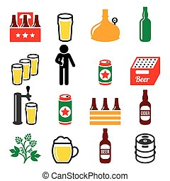 Beer, brewery, drinking alcohol in pub vector icons set
