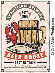 Beer brewery house retro advertisement poster