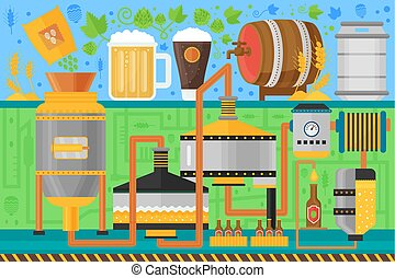 Beer Brewery production process. Factory beer background. Flat design vector illustration.