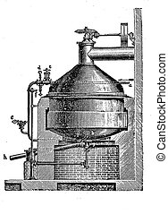 Beer brewing - pressure cooking pot - 19th century...