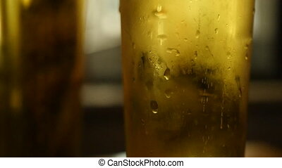 Beer bubbles in a glass of beer.