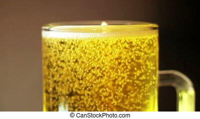 Beer bubbles macro