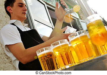 beer buffet - barman beer dring on buffet party background