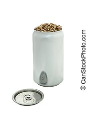 Beer Can Filled with Malted Barley Isolated on White...