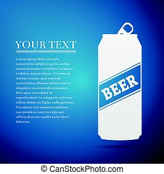 Beer Can flat icon on blue background. Vector Illustration