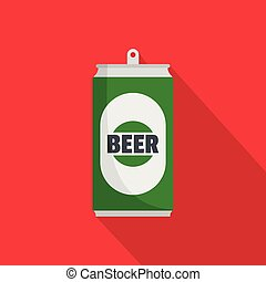 Beer can icon, flat style.