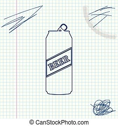 Beer can line sketch icon isolated on white background. Vector Illustration